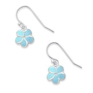 natural larimar plumeria, 925 sterling silver earr